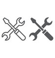screwdriver and wrench line and glyph icon vector image