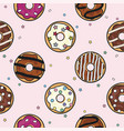 seamless donut background pattern vector image