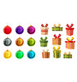 set christmas balls and gift boxes different vector image vector image