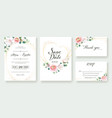 set floral wedding invitation card templates vector image vector image