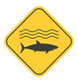 Shark Danger Yellow Sign vector image