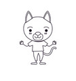 sketch silhouette caricature of cute cat vector image vector image