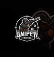 sniper mascot sport logo design vector image vector image