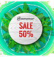 summer sale in palm leaves vector image vector image