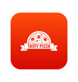 tasty pizza sign icon digital red vector image vector image