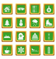 winter icons set green vector image vector image