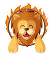 trained lion jumping through the fire ring vector image