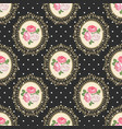 shabby chic rose seamless pattern on black polka vector image
