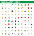 100 disaster icons set cartoon style vector image vector image