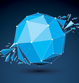 3d low poly object with blue connected lines and vector image vector image