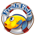 A fresh fish label with an image of a fish vector image vector image