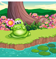 A green monster at the riverbank holding a flower vector image vector image