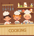 background of kids preparing food on vector image