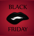 black friday sale poster with lips on red vector image