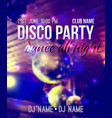 blurred background with disco ball and lights vector image vector image