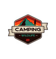 camping wildlife badge mountain adventure emblem vector image vector image