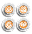 coffee art cup set herat top view hot vector image vector image