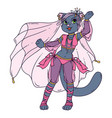 cute cat woman belly dancer vector image vector image