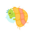 cute little dino sleeping on pillow under blanket vector image vector image