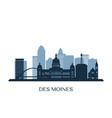 des moines skyline monochrome silhouette vector image vector image