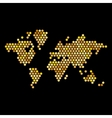 Dotted Gold Colors World Map Isolated on Black vector image vector image