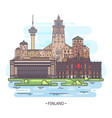 famous finland landmarks and finnish monuments vector image vector image