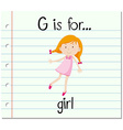 Flashcard alphabet G is for girl vector image vector image