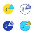 fraction pie diagram set in flat and line style vector image