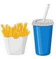french fries and a drink in a blue disposable cup vector image vector image
