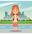girl diadem bag student urban background vector image