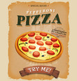 grunge and vintage pepperoni pizza poster vector image vector image