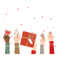 Hands holding christmas decoration on white vector image vector image