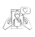 hands with smartphone man talk bubble love heart vector image