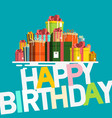 happy birthday card with gift boxes retro flat vector image vector image