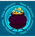 happy halloween greeting card with moon and pot vector image vector image