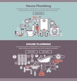 house plumbing web poster with tubes and bath vector image vector image