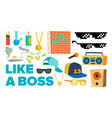 like a boss icons rapper gangster cool vector image
