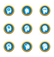 mental freedom icons set flat style vector image