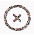people shape multiplication sign cross vector image