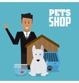 Pet shop with dog and man design vector image vector image
