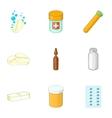 Pharmacy drug icons set cartoon style vector image
