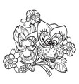 pretty owl on tree branch vector image vector image