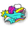 print with cartoon shark urban colorful teenage vector image