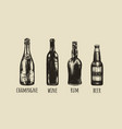 rum beer champagne wine sketch drawings vector image