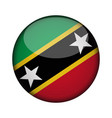 saint kitts and nevis flag in glossy round button vector image