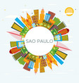 sao paulo brazil city skyline with color vector image vector image