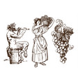 satyr sitting on the barrel beautiful peasant vector image