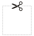 Scissors square cut line vector image