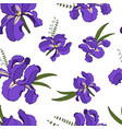 seamless pattern of purple iris flowers vector image vector image