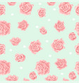 seamless pattern with pink and white roses vector image